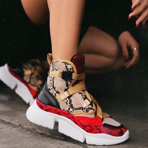 Oneluxe Python Suede Chunky Sneakers